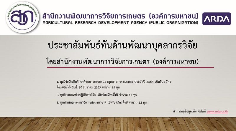 ประชาสัมพันธ์ทันด้านพัฒนาบุคลากรวิจัย โดยสำนักงานพัฒนาการวิจัยการเกษตร (องค์การมหาชน)